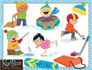 Winter Sports Fun Clip Art