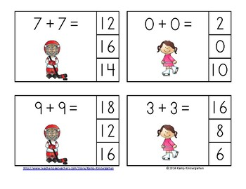 Winter Sports Fun Doubles Addition Math Centers Sums of 0 to 20