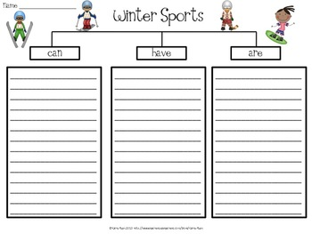Winter Sports Graphic Organizers and Paper Choices for Research and Writing