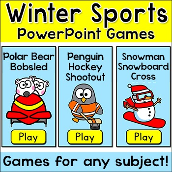 Winter Activities Games for January - Winter Sports Bobsled, Hockey, Snowboard