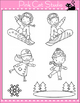 Winter Sports Kids Clip Art - Snowboarding and Ice Skating