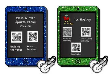Free!!! Winter Sports Listening Center QR Codes with Graphic Organizer