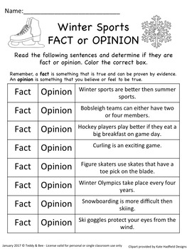 Winter Sports - Literacy worksheets for the 2nd grade