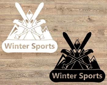 Winter Sports Logo Mountains Ski Side svg Snowboard Christmas equipment 1066s