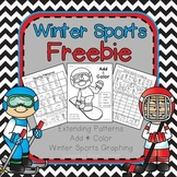 Winter Olympics Math graphing practice, add and color, and extending patterns