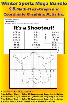 Winter Sports Mega Bundle - 45 Math-Then-Graph/Coordinate Graphing Activities