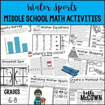 Winter Sports Middle School Math Activities
