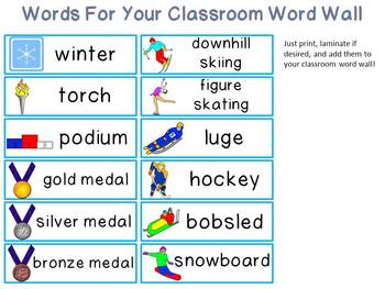 Winter Sports Mini-Word Wall Activity Pack