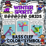 Winter Sports Mystery Grids (Bass Clef)