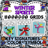 Winter Sports Mystery Grids (Key Signatures on the Treble Clef)