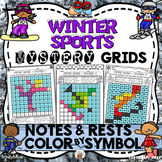 Winter Sports Mystery Grids (Notes and Rests)