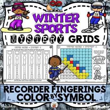 Winter Sports Mystery Grids (Recorder Fingerings)