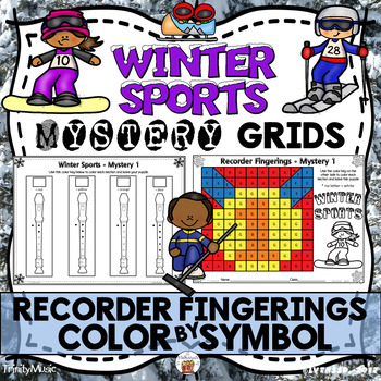 Winter Sports Mystery Grids (Recorder Fingerings) Freebie