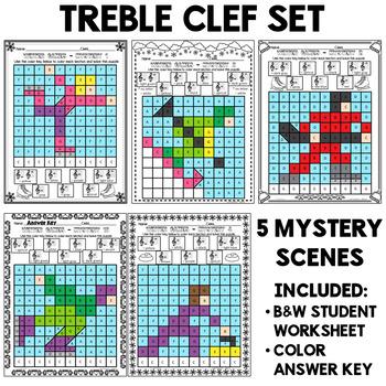 Winter Sports Mystery Grids (Treble Clef)