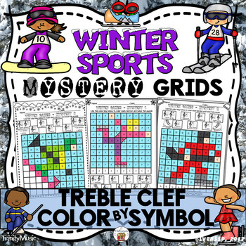 Winter Sports Mystery Grids (Treble Clef)