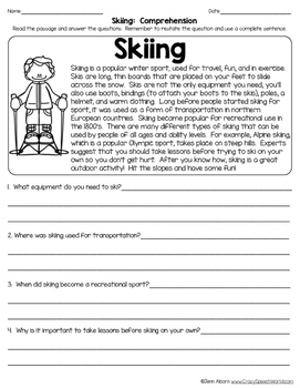Winter Sports Nonfiction Texts for Comprehension & Vocabulary!