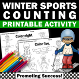 Kindergarten Math Counting Number Words Worksheets Winter Sports