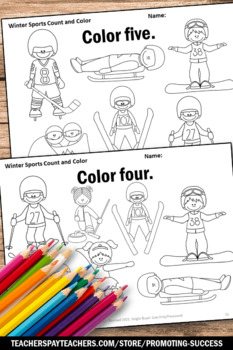 Number Words Worksheets Winter Sports Theme Kindergarten Math Coloring Pages
