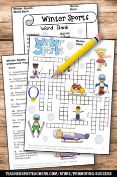 Winter Crossword Puzzle Olympic Sports Theme Vocabulary Worksheet