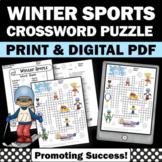 Winter Olympics Crossword Puzzle, Sports Theme Classroom Activity