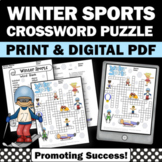 Winter Sports Activities, Vocabulary Crossword Puzzle, Early Finishers