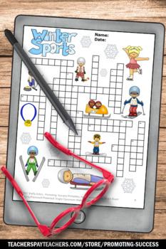 winter sports theme activity vocabulary crossword puzzle. Black Bedroom Furniture Sets. Home Design Ideas