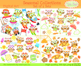 Seasonal Owl Clipart Bundle Spring Summer Winter Sports Fall Owls Clip art