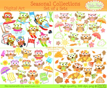 Seasonal Owl Clipart Bundle Spring Summer Winter Sports Fa