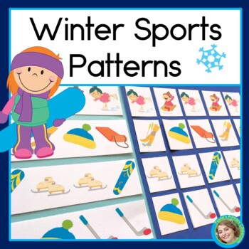 Winter Sports Patterns Math Center with AB, ABC, AAB & ABB Patterns