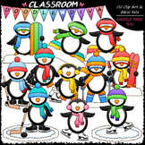 Winter Sports Penguins - Clip Art & B&W Set