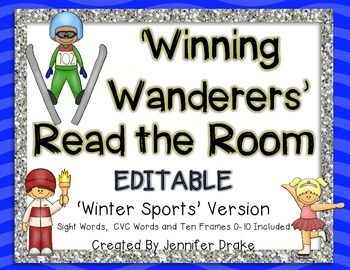 Winter Sports Theme 'Read The Room'  ~EDITABLE~  Words, CVC, 10 Frame Included