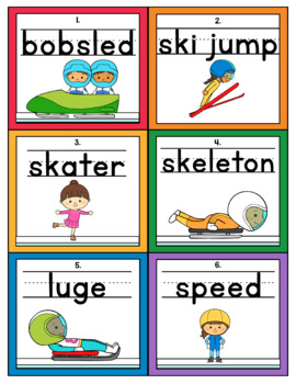 Winter Sports Themed Handwriting Scoot and/or Write the Room
