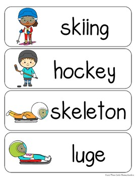 Winter Sports and Para Sports Vocabulary Cards plus Write and Wipe version