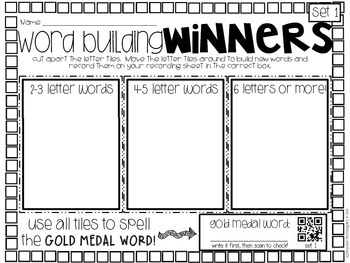 Winter Sports Word Work, ABC order, and parts of speech Pack
