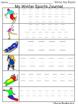 Winter Sports Write / Stamp the Room Activity Pack