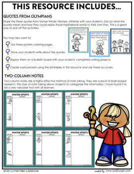 Winter Sports Writing Packet {Common Core Olympics Narrative Opinion Creative}