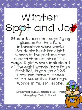Winter Spot and Jot - Fry Words 1-100