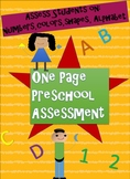 One Page Preschool Assessment