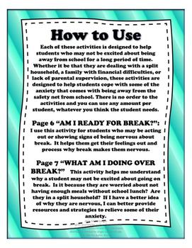 Winter/Spring/Summer Break Preparation: Coping Activities for the Long Break