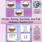 Winter, Spring, Summer, and Fall Holidays Basket Sort #TpT