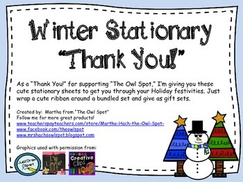 Winter Stationary - Thank You Freebie