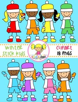 Winter Stick Kids Clipart