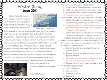 Winter Storm Leon 2014: Informational Text and Questions