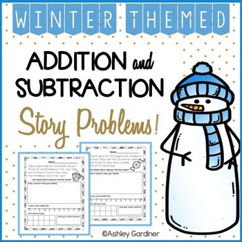 Winter Story Problems {6 Story Problems with Addition and Subtraction}