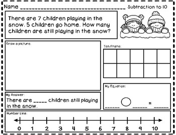 Winter Story Problems - Addition and Subtraction to 10