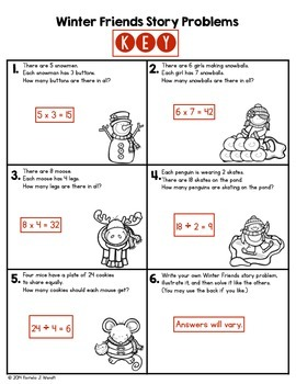 Winter Story Problems - Multiplication & Division within 100 - CCSS Grade 3