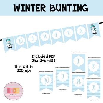 Winter Stripes Bunting/ Banners-Classroom Decoration {TeKa Kinderland}