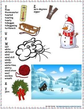 Winter Student Printable Word Bank