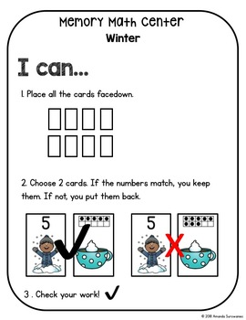 Winter Kindergarten Math Center - Memory
