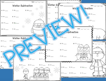 Winter Subtraction Worksheets **FREEBIE*